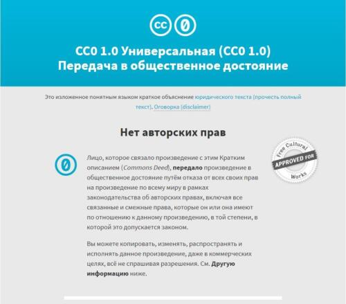 Снимок с экрана условий лицензирования creativecommons.org