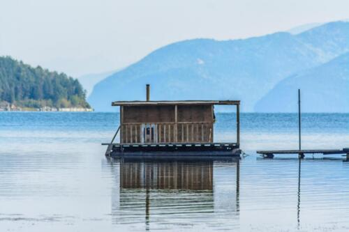 Bathhouse on Lake Baikal, floating on the surface of the lake. 2017.