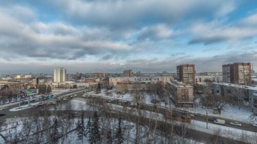 Барнаул утром вид на остановку Барнаул