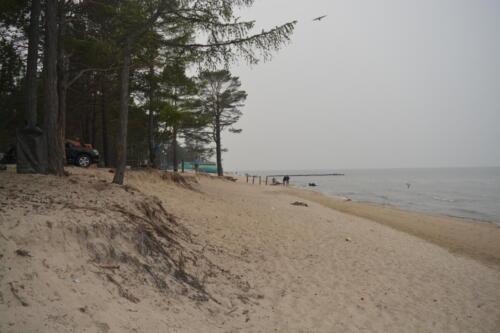 The eastern shore of Lake Baikal near the village of Enkhaluk in the Republic of Buryatia