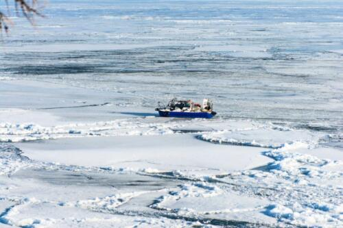 "Hovercraft amphibian ""Hivus-10"" near the shore of Lake Baikal near Listvyanka village"