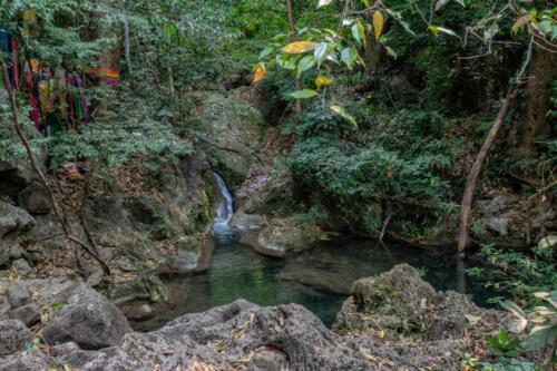 Горный ручей стекающий в заводь в джунглях