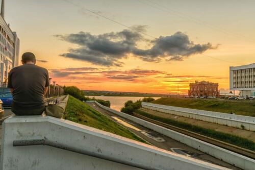 Томск набережная реки Ушайки, закат
