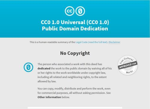 Screenshot of the licensing terms and conditions creativecommons.org