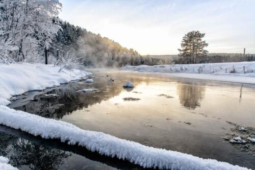 winter, river, snow, threes, ice, sky, frost,